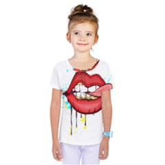Bit Your Tongue Kids  One Piece Tee by StarvingArtisan