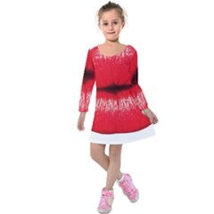 Oooooh Lips Kids  Long Sleeve Velvet Dress by StarvingArtisan