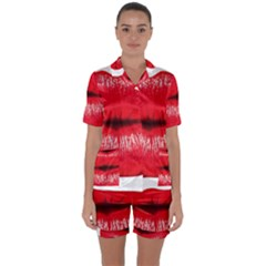 Oooooh Lips Satin Short Sleeve Pyjamas Set by StarvingArtisan