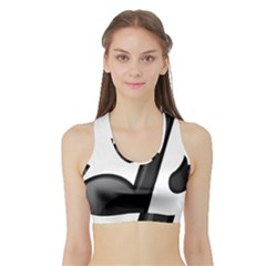 Music Note  Sports Bra With Border