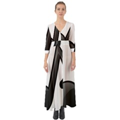 Music Note  Button Up Boho Maxi Dress
