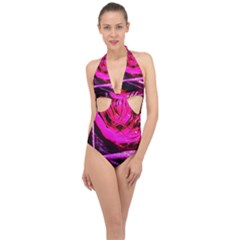Calligraphy 2 Halter Front Plunge Swimsuit by bestdesignintheworld