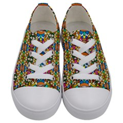 Artwork By Patrick Colorful 36 Kids  Low Top Canvas Sneakers