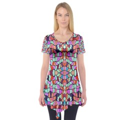 Artwork By Patrick Colorful 38 Short Sleeve Tunic  by ArtworkByPatrick