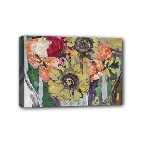 Sunflowers And Lamp Mini Canvas 6  X 4  by bestdesignintheworld