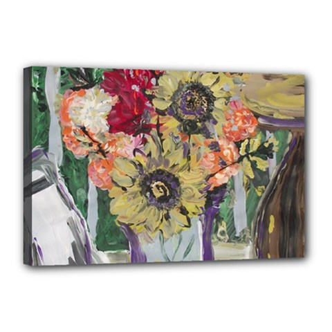 Sunflowers And Lamp Canvas 18  X 12  by bestdesignintheworld