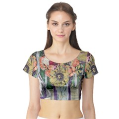 Sunflowers And Lamp Short Sleeve Crop Top by bestdesignintheworld