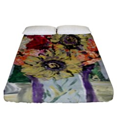 Sunflowers And Lamp Fitted Sheet (king Size) by bestdesignintheworld