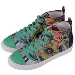 Sunflowers And Lamp Women s Mid Top Canvas Sneakers by bestdesignintheworld
