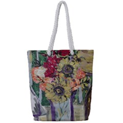 Sunflowers And Lamp Full Print Rope Handle Tote (small) by bestdesignintheworld
