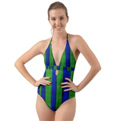 Stripes Halter Cut Out One Piece Swimsuit by bestdesignintheworld