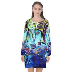 Old Light And New Light Long Sleeve Chiffon Shift Dress