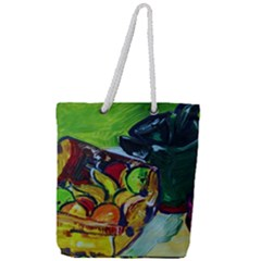 Still Life With A Pigy Bank Full Print Rope Handle Tote (large) by bestdesignintheworld