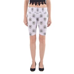 Angry Theater Mask Pattern Yoga Cropped Leggings by dflcprints