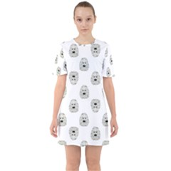 Angry Theater Mask Pattern Sixties Short Sleeve Mini Dress by dflcprints