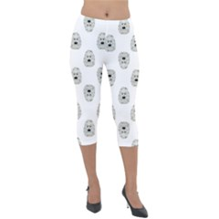 Angry Theater Mask Pattern Lightweight Velour Capri Leggings