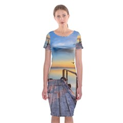 Sunset Lake Beautiful Nature Classic Short Sleeve Midi Dress by Modern2018