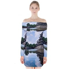 Beautiful Pagoda On Lake Nature Wallpaper Long Sleeve Off Shoulder Dress by Modern2018