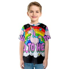 Go To Hell   Unicorn Kids  Sport Mesh Tee