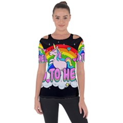 Go To Hell   Unicorn Short Sleeve Top by Valentinaart
