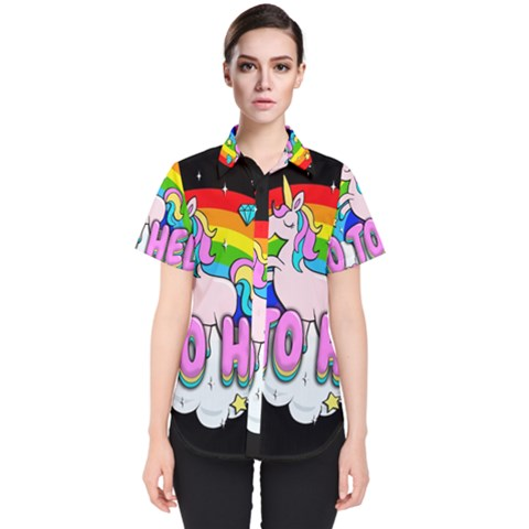 Go To Hell   Unicorn Women s Short Sleeve Shirt by Valentinaart