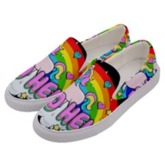 Go To Hell   Unicorn Men s Canvas Slip Ons by Valentinaart
