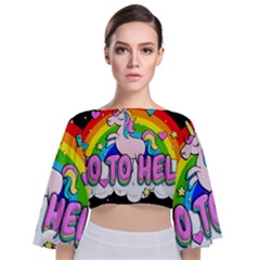 Go To Hell   Unicorn Tie Back Butterfly Sleeve Chiffon Top by Valentinaart