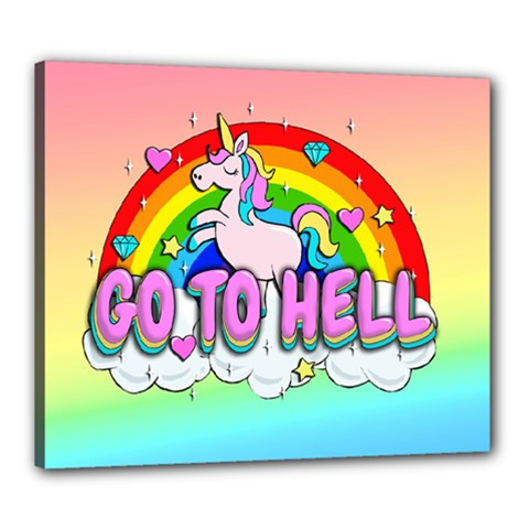 Go To Hell   Unicorn Canvas 24  X 20  by Valentinaart
