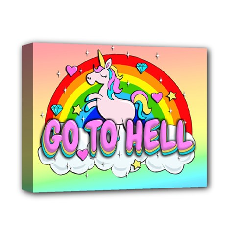 Go To Hell   Unicorn Deluxe Canvas 14  X 11  by Valentinaart