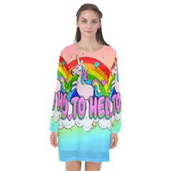 Go To Hell - Unicorn Long Sleeve Chiffon Shift Dress  by Valentinaart