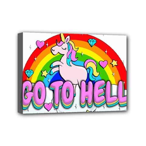 Go To Hell   Unicorn Mini Canvas 7  X 5  by Valentinaart