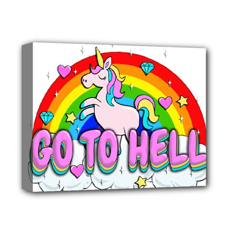 Go To Hell   Unicorn Deluxe Canvas 14  X 11