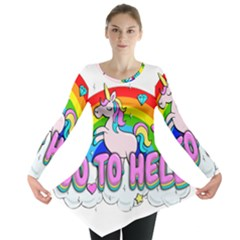 Go To Hell   Unicorn Long Sleeve Tunic  by Valentinaart