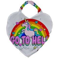 Go To Hell   Unicorn Giant Heart Shaped Tote by Valentinaart