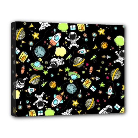 Space Pattern Deluxe Canvas 20  X 16   by Valentinaart