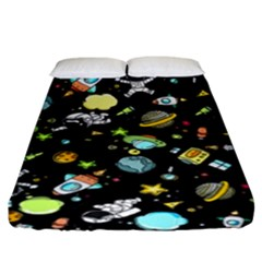 Space Pattern Fitted Sheet (king Size) by Valentinaart
