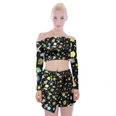 Space Pattern Off Shoulder Top With Mini Skirt Set by Valentinaart