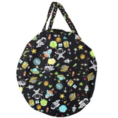 Space Pattern Giant Round Zipper Tote by Valentinaart