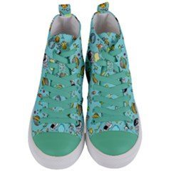 Space Pattern Women s Mid Top Canvas Sneakers