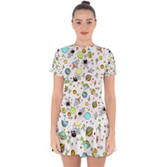 Space Pattern Drop Hem Mini Chiffon Dress by Valentinaart