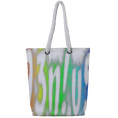 Genius Funny Typography Bright Rainbow Colors Full Print Rope Handle Tote (small) by yoursparklingshop