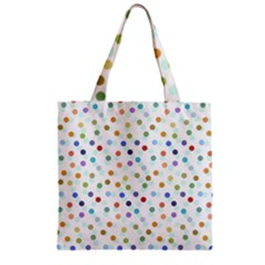 Dotted Pattern Background Brown Zipper Grocery Tote Bag by Modern2018