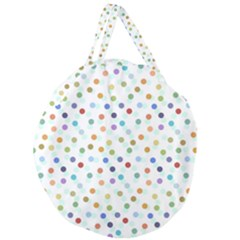 Dotted Pattern Background Brown Giant Round Zipper Tote