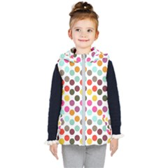 Dotted Pattern Background Kid s Hooded Puffer Vest