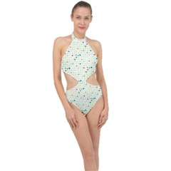 Dotted Pattern Background Full Colour Halter Side Cut Swimsuit by Modern2018