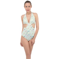 Dotted Pattern Background Full Colour Halter Front Plunge Swimsuit