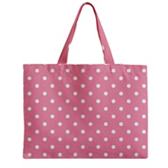 Pink Polka Dot Background Medium Tote Bag by Modern2018