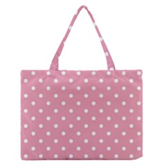 Pink Polka Dot Background Zipper Medium Tote Bag by Modern2018