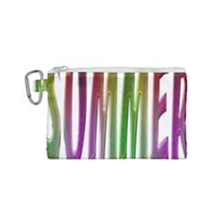 Summer Colorful Rainbow Typography Canvas Cosmetic Bag (small) by yoursparklingshop