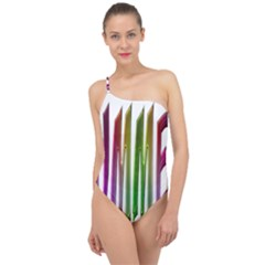 Summer Colorful Rainbow Typography Classic One Shoulder Swimsuit